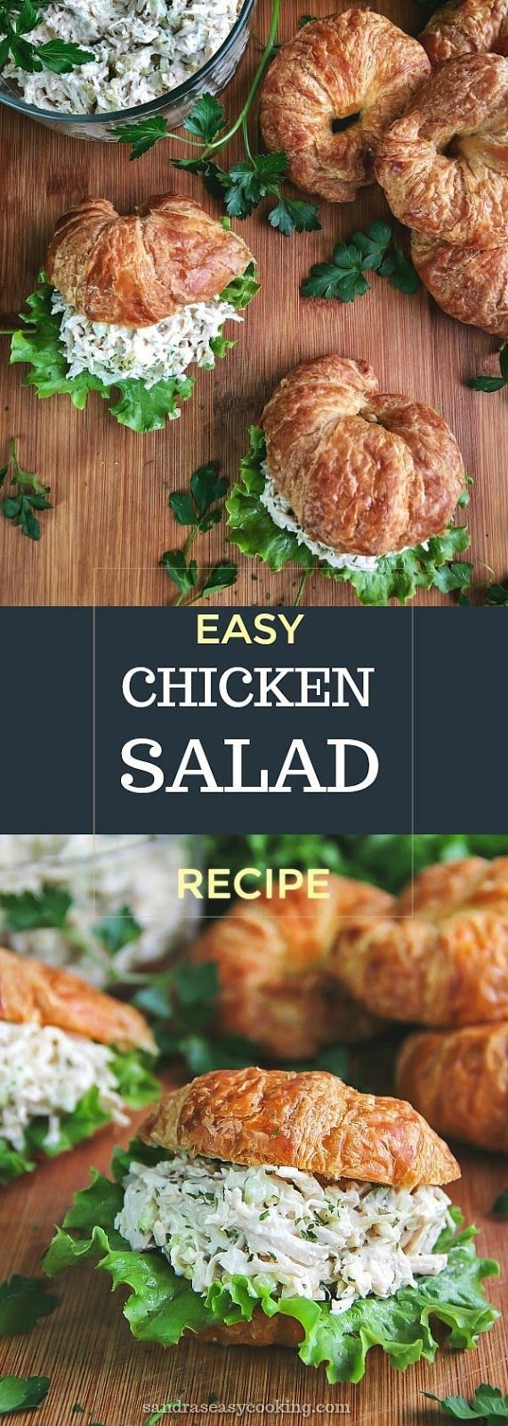 Easy Chicken Salad Recipe - Delicious, simple! Will try this recipe, but will occasionally start serving my chicken salad on croissants w/ lettuce!