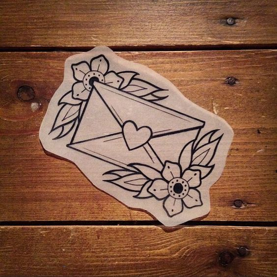 traditional love letter tattoo
