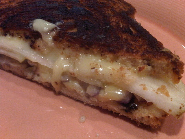 Double Cream Brie grilled cheese sandwich with pear, red onion, and on ...