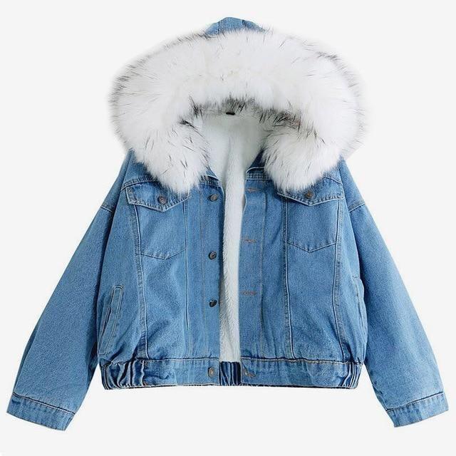 Denim Jacket With Fur Winter Jeans Hooded Velvet Coat In 2020 Jeansjacke Damen Denim Mantel Lederjacke Frauen
