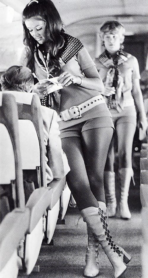 Southwest Airlines air hostess, 1968 - Air stewardesses used to have very strict weight, height restrictions and they had to be pretty and single.