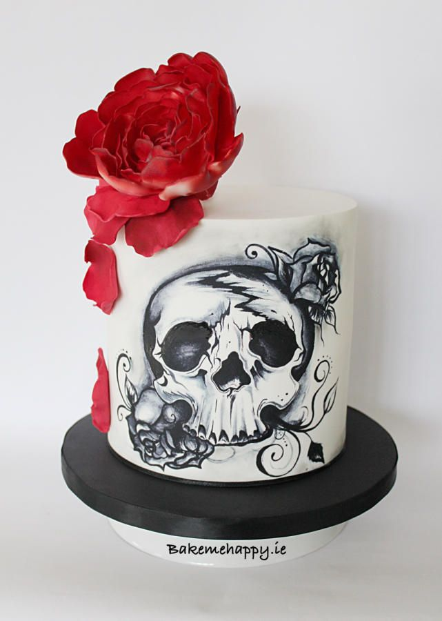 Hand painted skull cake by Elaine Boyle....bakemehappy.ie