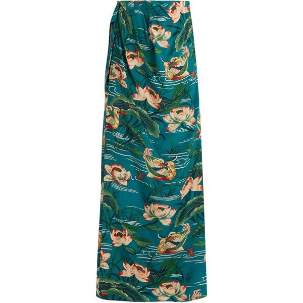 Stella Jean Piccola silk crepe de Chine maxi skirt (32.905 RUB) ❤ liked on Polyvore featuring skirts, long skirts, long silk skirt, blue maxi skirt, teal maxi skirt and long blue skirt