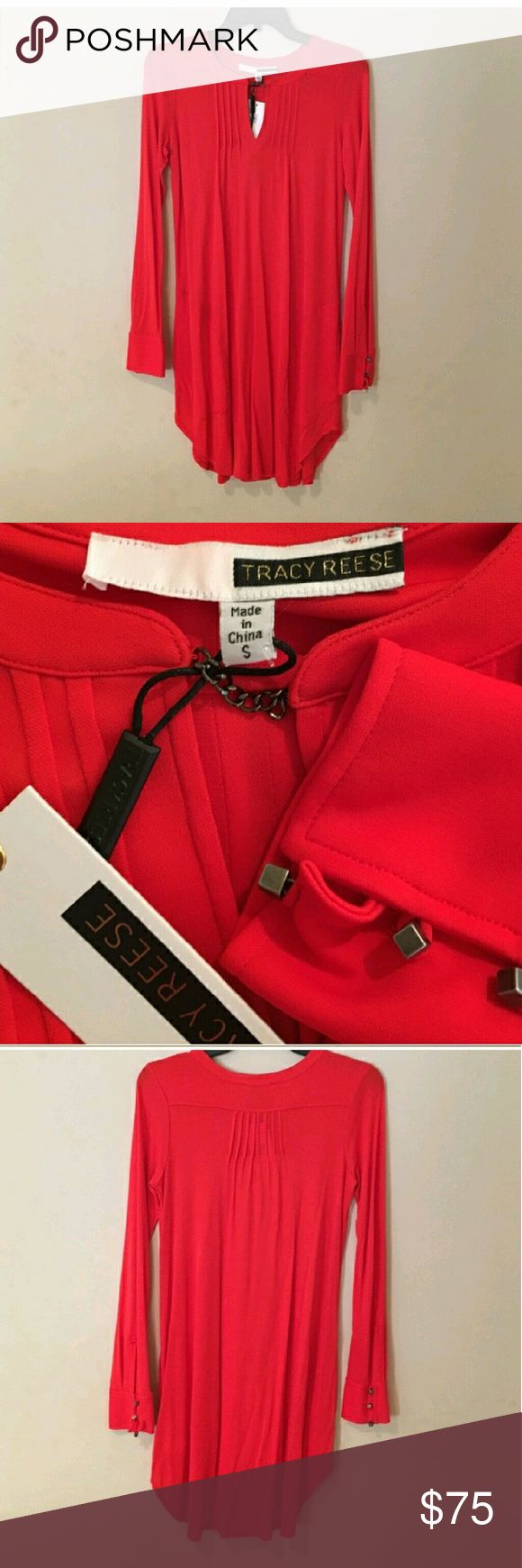 Nwt Tracy Reese Red Tunic size s Amazing Red Tunic by Tracy Reese size 2-6 as its quite forgivening. Can be worn with jeans or without Tracy Reese Dresses Long Sleeve