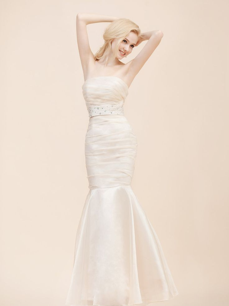 Strapless Organza Mermaid Wedding Dress - Kinda love this...I'd add a lace sleeve though!