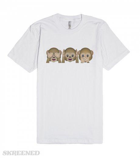 Emoji Three Wise Monkeys Tee: See, Hear, Speak No Evil | Emoji Three Wise Monkeys Tee, See-No-Evil, Hear-No-Evil and Speak-No-Evil. Also known as Mizaru, Kikazaru and Iwazaru. The See-No-Evil monkey has hands covering his eyes, as part of the proverb �see no evil, hear no evil, speak no evil�. Also known as Monkey Covering Eyes Emoji, Cheeky Emoji and Cheeky Monkey Emoji.The Hear-No-Evil monkey has hands covering his ears, as part of the proverb �see no evil, hear no evil, speak no evil�…
