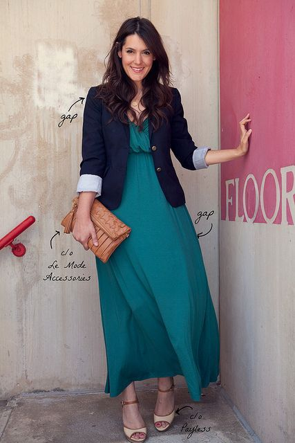 maxi dress and blazer | Skirt the Ceiling | http://skirttheceiling.com