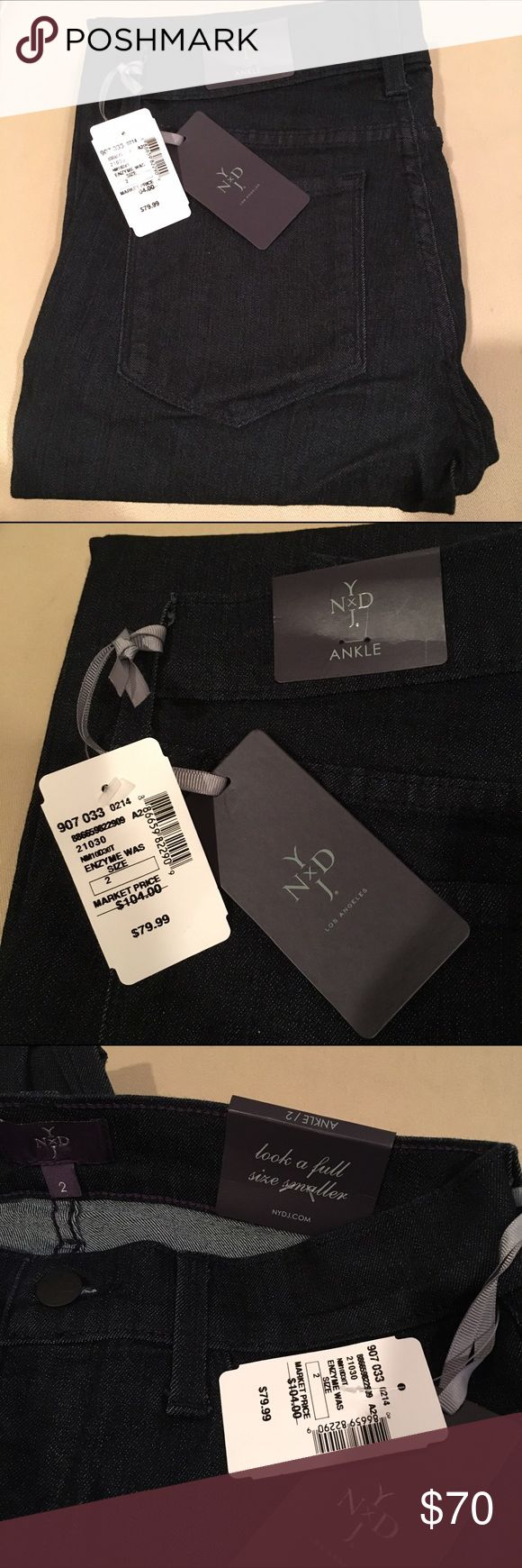 NWT Not Your Daughters Jeans, ankle length, size 2 NWT ankle length, size 2, from Not Your Daughters Jeans (NYDJ). Tags intact. Dark indigo wash. Purchased at Saks Off 5th Avenue for full ticket price shown. Not Your Daughters Jeans Jeans Ankle & Cropped