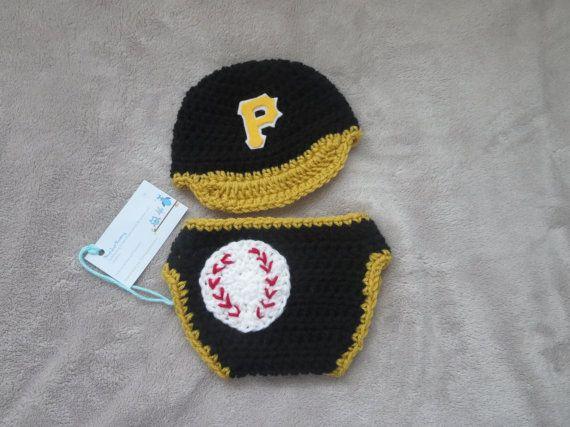 newborn photos, photo prop, baby set, any team, Pirates, baseball hat, diaper cover, baby gift, baby boy, baby girl, custom design
