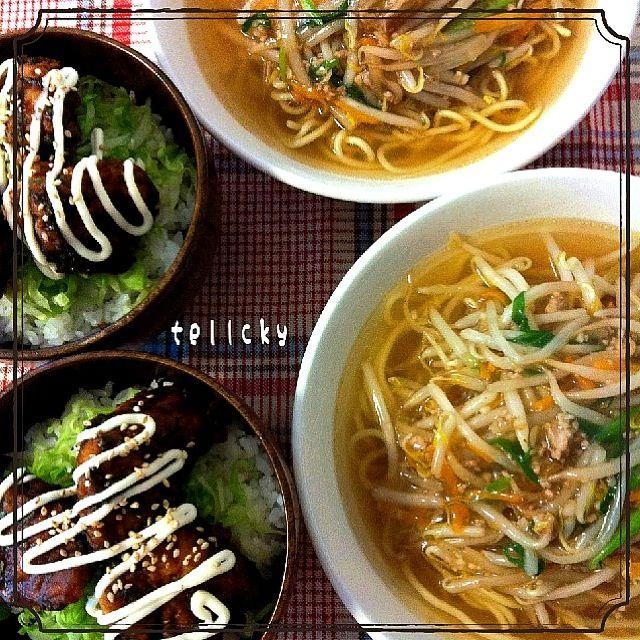 もやし炒めの餡かけがのったラーメンと、味噌マヨとり天丼のお昼ごはんでした(^ ^) 昨日余らせた鶏天に、青じそ入りの味噌ソースを絡ませました。 ボリューム満点! お昼からお腹いっぱいです(^-^) - 121件のもぐもぐ - サンマーメン☆横浜もやしそば by tellcky