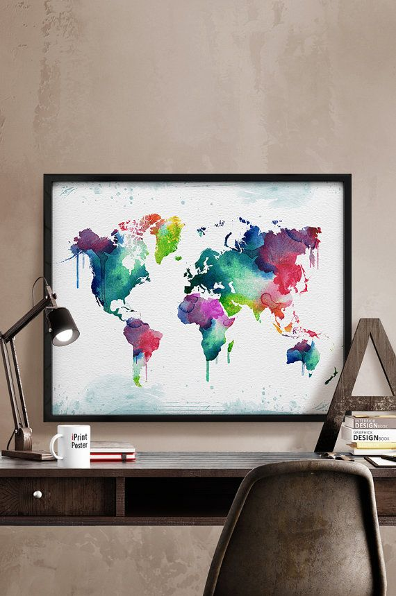 large world map World map print watercolor world by iPrintPoster