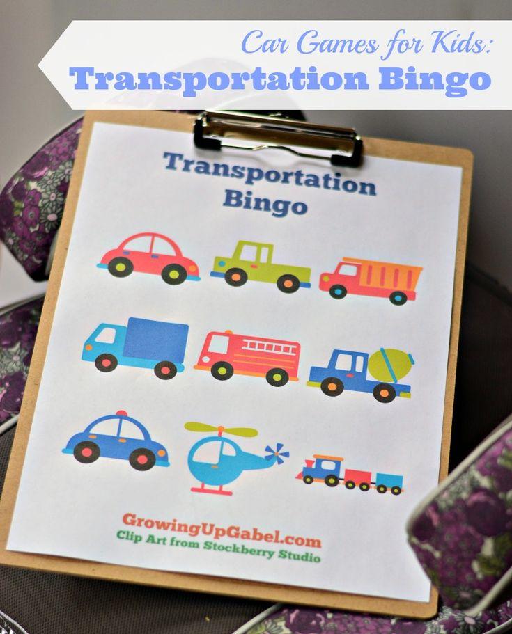 car games for kids transportation bingo