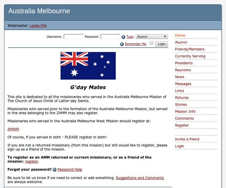 An alumni site for the Melbourne LDS Mission.