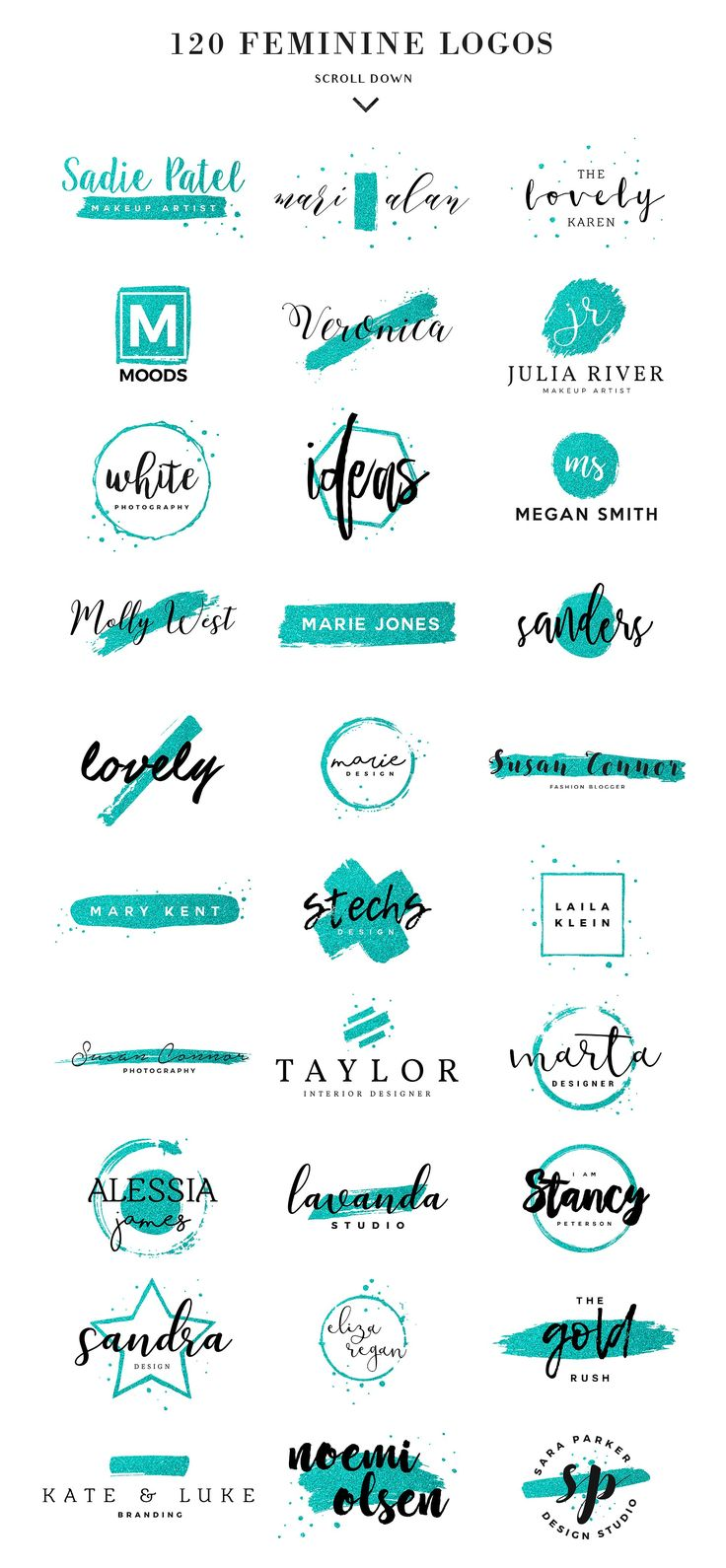 120 Feminine Branding Logos by Davide Bassu on @creativemarket Creative logo design inspiration, perfect for a modern business branding with perfect font and typography selection. Take some ideas or use this feminine, elegant, nature, feminine and also hipster set.