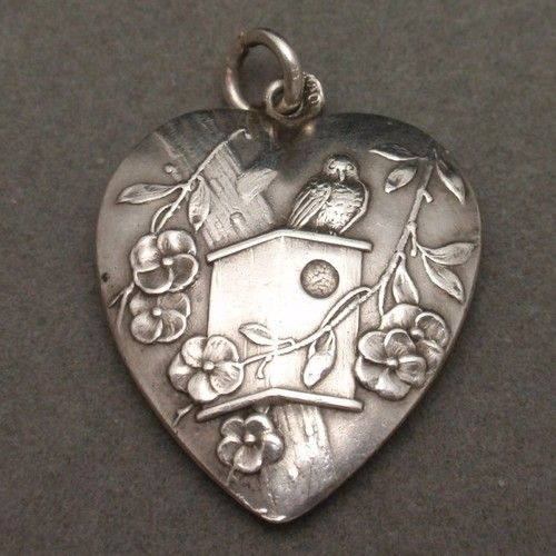 Heart Charm With Bird  and  Birdhouse Antique 800 Silver Germany Detailed | eBay