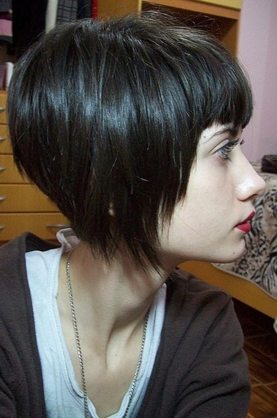 Angled Bob with bangs Edgy Short Hair Pinterest