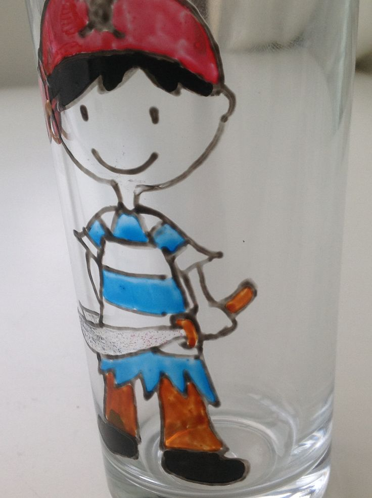 Pirate Hand decorated Glass