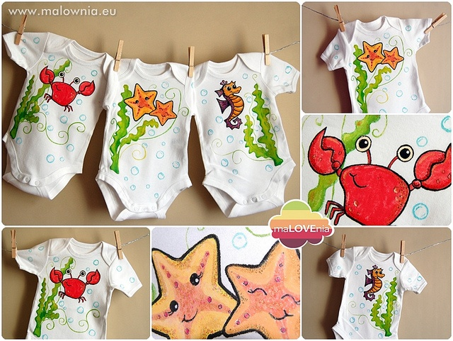 Hand-painted bodysuits for children with sea animals
