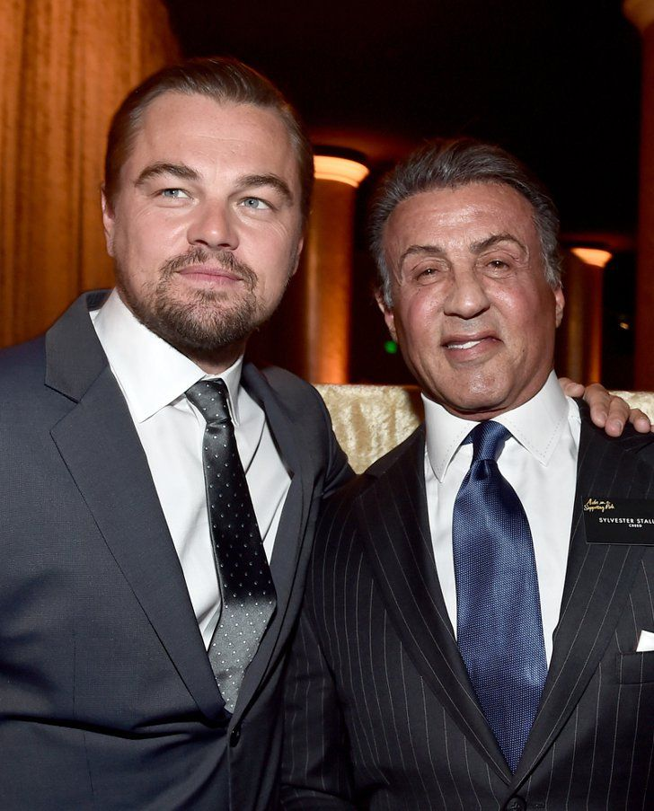 Pin for Later: Lady Gaga Hits the Red Carpet After Causing a Worldwide Frenzy at the Super Bowl  Pictured: Leonardo DiCaprio and Sylvester Stallone