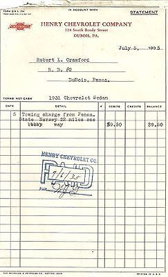 ANTIQUE RECEIPT DOCUMENT TOWING CHARGE HENRY CHEVROLET COMPANY 1935 ONLY 9.50 $