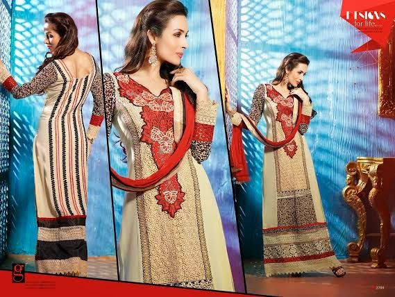 Ethnically designed Party wear Straight cut Beige and Red with Black Georgette Salwar suit with Beautiful thread and Stone work and Karachi Laces on the hemline and Sleeves. Matching Santoon Bottom and Chiffon Duppatta included.