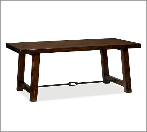 Benchwright fixed dining table rustic mahogany stain for Dining room tables 38 inches wide