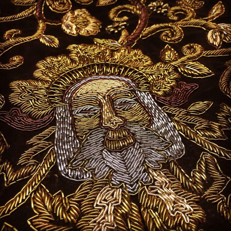 Amazing gold bullion embroidery and beading for a Salem bodice