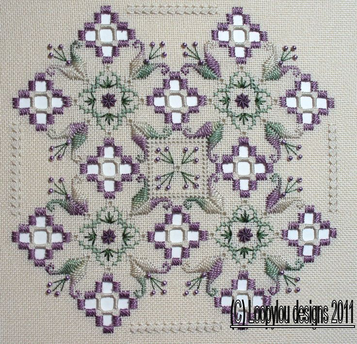 Purple Delight Stitched on 28 count brittney, Ecru Size 5 1/2 x 5 1/2 ins 14 x 14 CM Threads used are DMC Perle cotton #8 & #12, DMC Stranded cotton, Mill Hill beads.