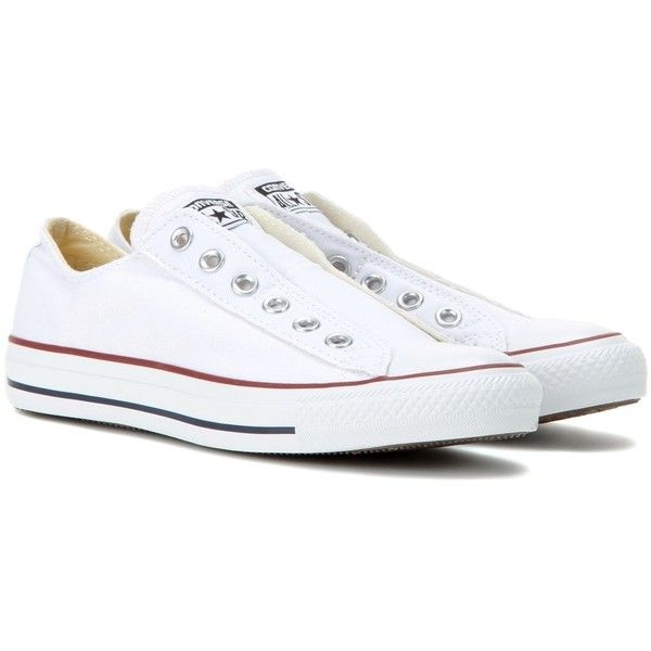 Converse Chuck Taylor Slip Sneakers found on Polyvore featuring shoes, sneakers, white, white trainers, converse shoes, converse sneakers, converse trainers and white shoes