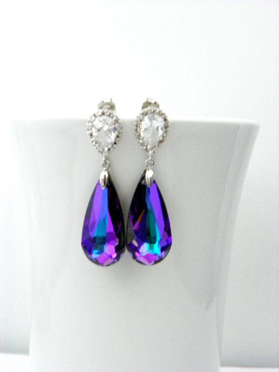 Purple Swarovski Earrings, Heliotrope Crystal, Cubic Zirconia Post Earrings, Bridesmaids Earrings, Purple and Teal, Peacock Wedding Earrings. $35.00, via Etsy.