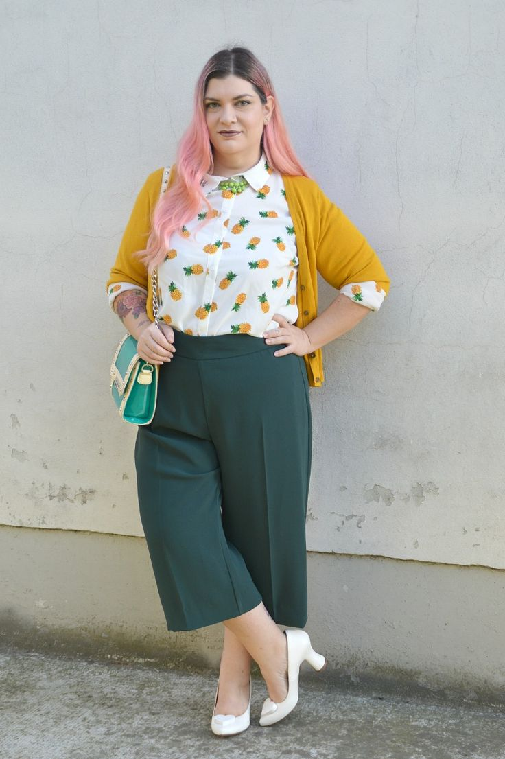 #Outfit: camicia con gli ananas, verde e giallo | Plus... Kawaii! - A plus size fashion blog #plussize