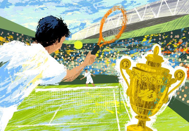 #michaelcrampton #meiklejohn #illustration #digital #stylised #tennis #wimbledon #sport