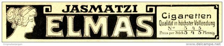 Original-Werbung/Anzeige 1912 - JASMATZI ELMAS CIGARETTEN - ca. 210 x 40 mm
