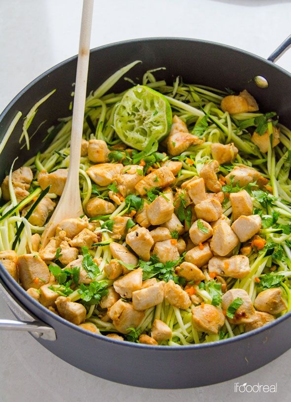 Zucchini Noodles with Cilantro Lime Chicken is delicious 20 minute, healthy and gluten free dinner idea. If you don't have a spiralizer, just chop the zucchini. | ifoodreal.com