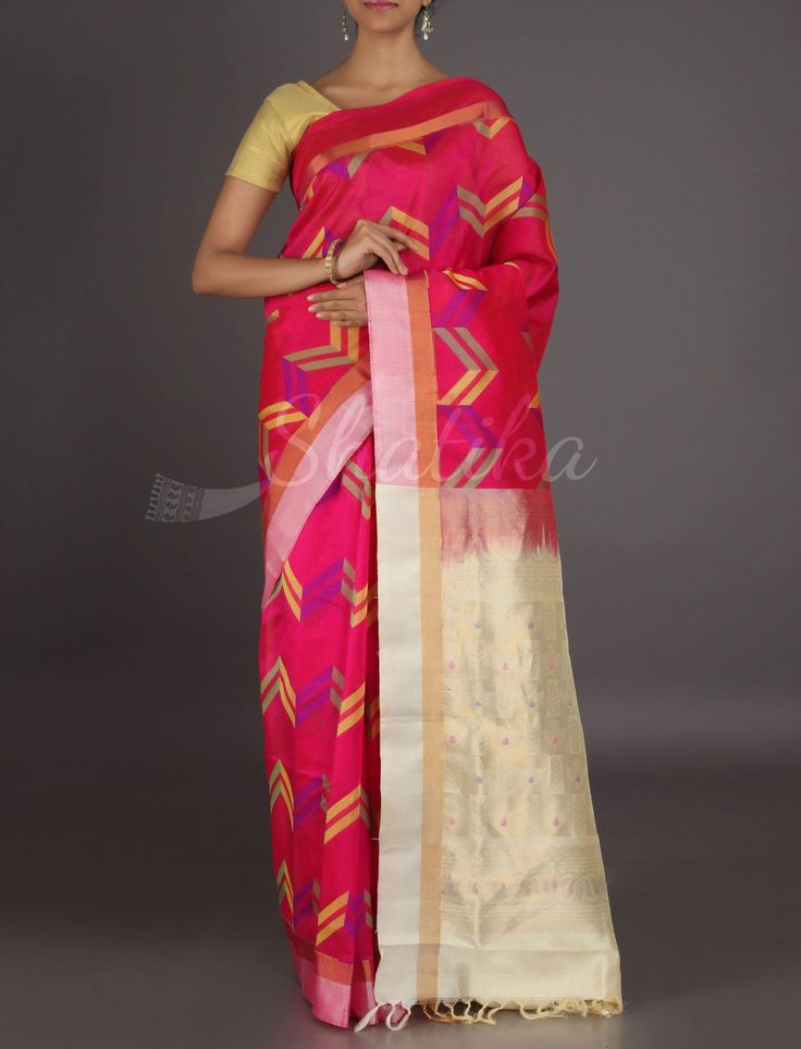 Kusum Rainbow Hue Arrows Enchanting #MangalgiriSilkSaree