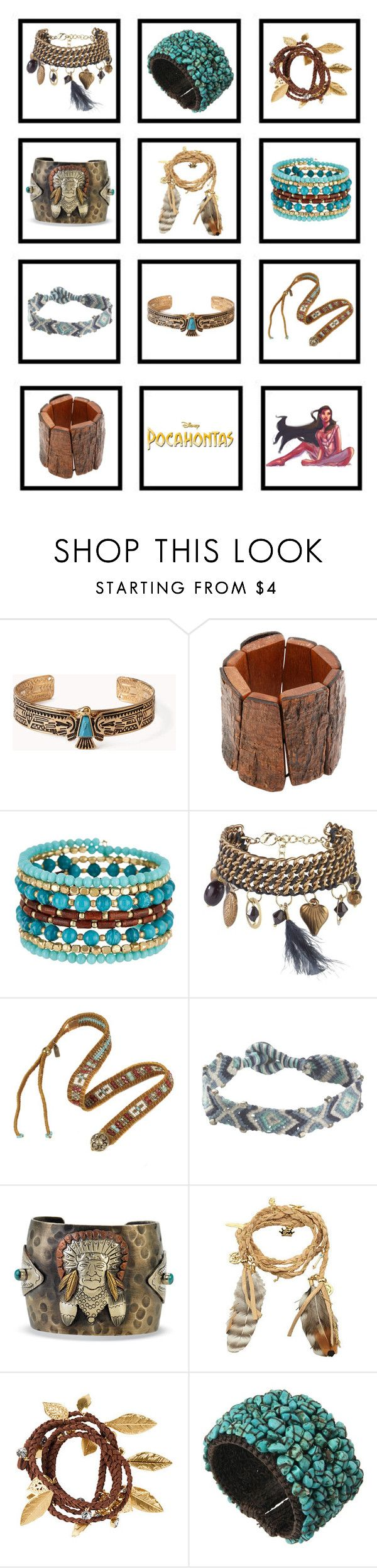 """Pocahontas Bracelets"" by tempermental-teen ❤ liked on Polyvore featuring Forever 21, Kenneth Jay Lane, Madison Parker, Joe Browns, Fat Face, Disney Couture and H&M"