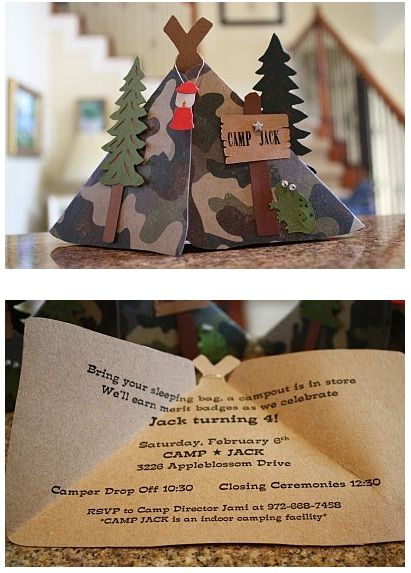 Camping invitation - I HAVE to do this for Ryd's Camping party!!!  Awesome!!