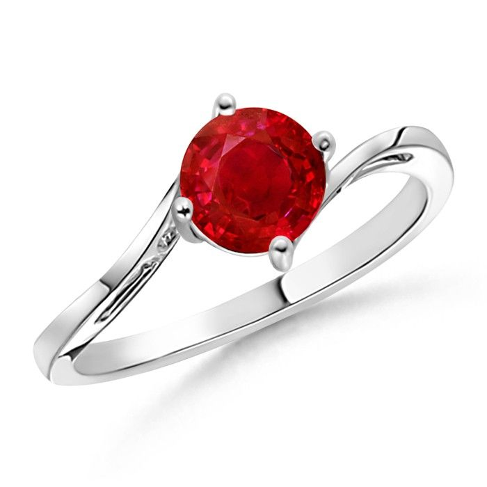 Angara Solitaire Oval Ruby and Three Diamond Leaves Ring in 14k Yellow Gold