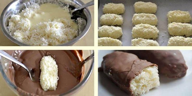 Muito fácil e delicioso  Ingredientes  3 xícaras de coco ralado 1 xícara de leite condensado 200 g de chocolate escuro ou leite (opcional)    Modo de Preparo  Em uma tigela,