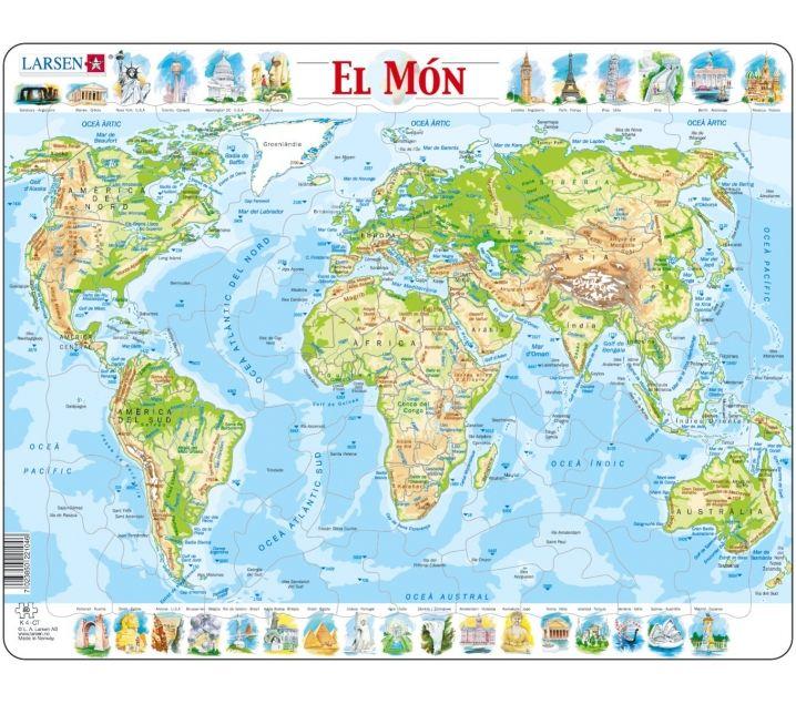 Mapa Puzle Del Mundo Fisico Mapas Mundo Y Monumentos Famosos
