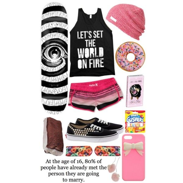 Summertime- black graphic tank top, pink/misc striped shorts, studded vans shoes and slouchie beanie
