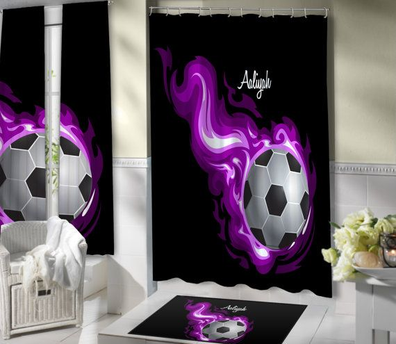 Purple Flames Soccer Shower Curtain.  Kids Shower Curtains, Sports Shower Curtains.