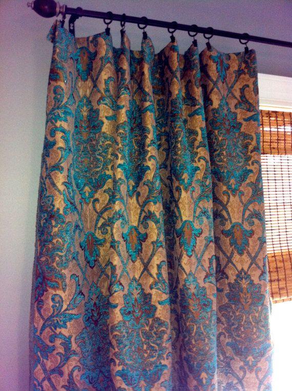 Teal Damask Curtain Panel/ Custom Drapery in Designer Chenille fabric on Etsy, $210.00