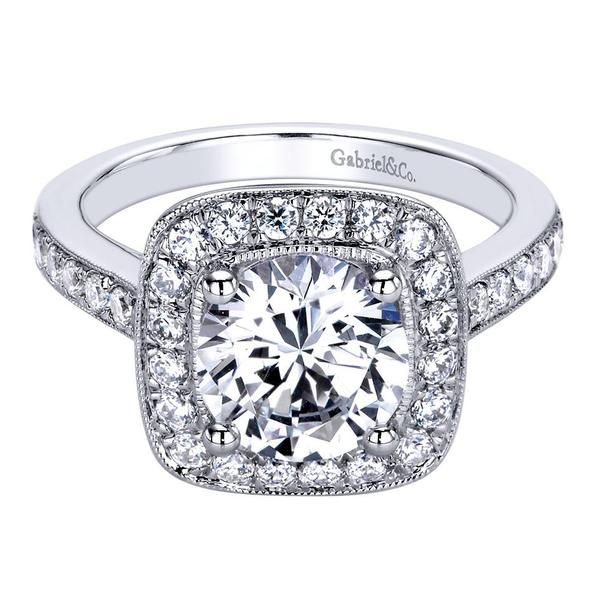 14k White Gold Diamond Halo Engagement Ring | Gabriel & Co NY | ER9362W44JJ