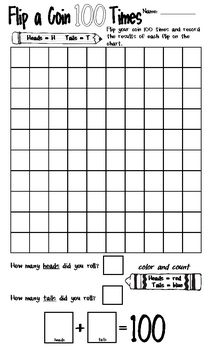 This is a fun activity for students on the 100th Day of School. Students will flip a coin 100 times and record the results for each flip on the worksheet. Then students will color and count the heads and tails and use their results to write a math problem that {hopefully} equals 100.
