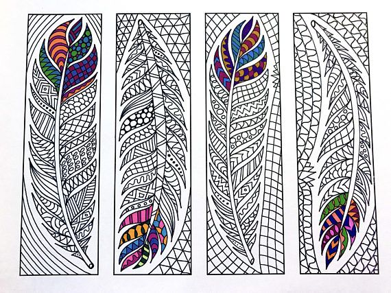 Feather Bookmarks PDF Zentangle Coloring Page