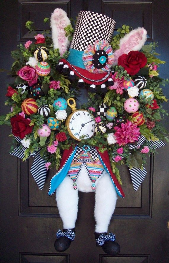 *WHITE RABBIT ~ Alice in Wonderland, I'm late..Would make a cute Easter wreath! Pinned for inspiration.