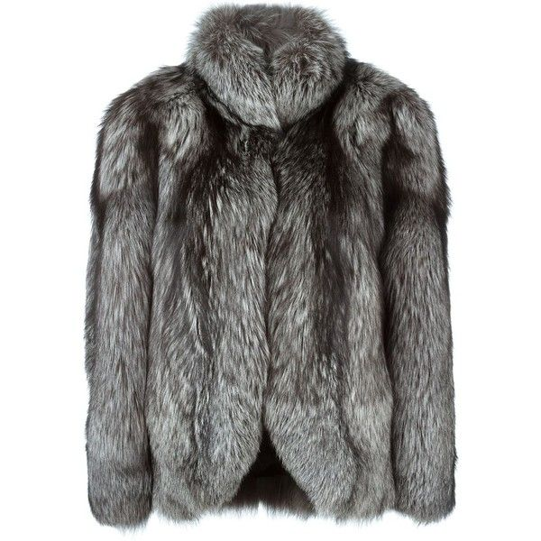 N.Peal silver fox fur jacket ($4,850) ❤ liked on Polyvore featuring outerwear, jackets, coats, fur, grey, fox fur jacket, silver fox fur jacket, stand collar jacket, grey jacket and long sleeve jacket