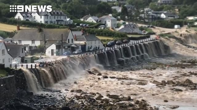 Flash flooding sends torrents of water sweeping through Cornish village
