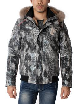 Anaconda Design Hooded Snorkel Faux Fur Jacket